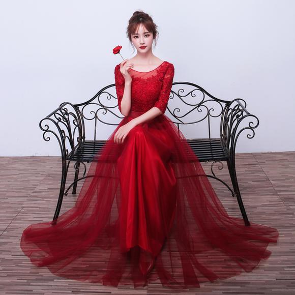 新款敬酒服新娘结婚韩版公主 长款晚礼服